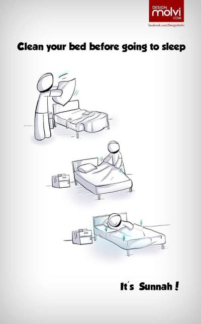 cleaning bed before sleep is sunnah